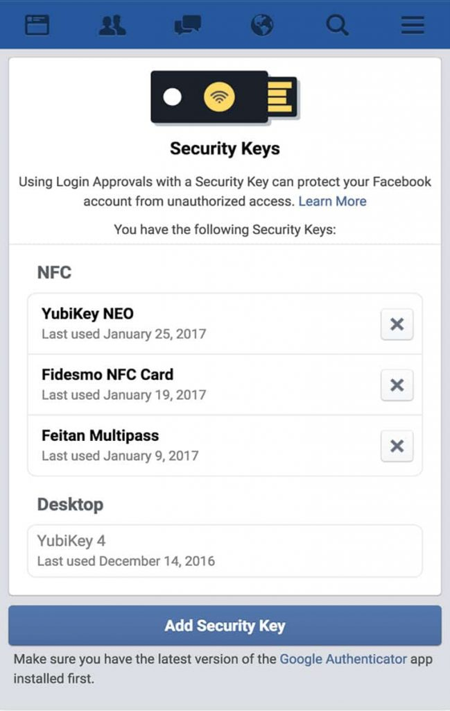 Facebook Two Way Authentication System